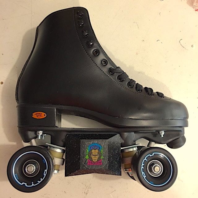 Riedell Boost 111 roller skates with aggressive slider blocks.