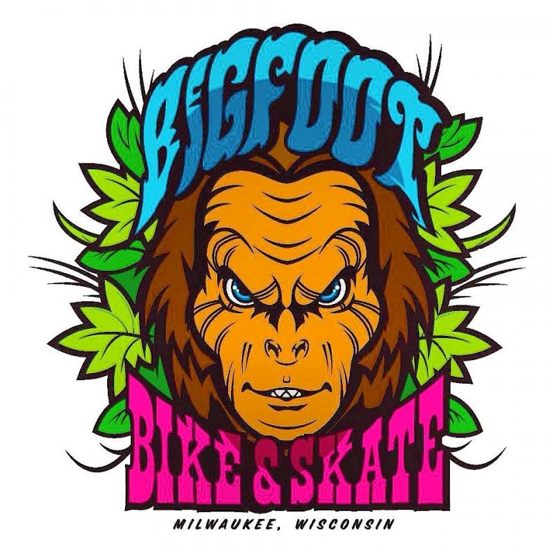 Bigfoot Bike & Skate logo tee shirts at Bigfoot Bike & Skate, Milwaukee, WI.