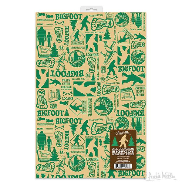 Bigfoot wrapping paper at Bigfoot Bike and Skate, Milwaukee, WI 53207.