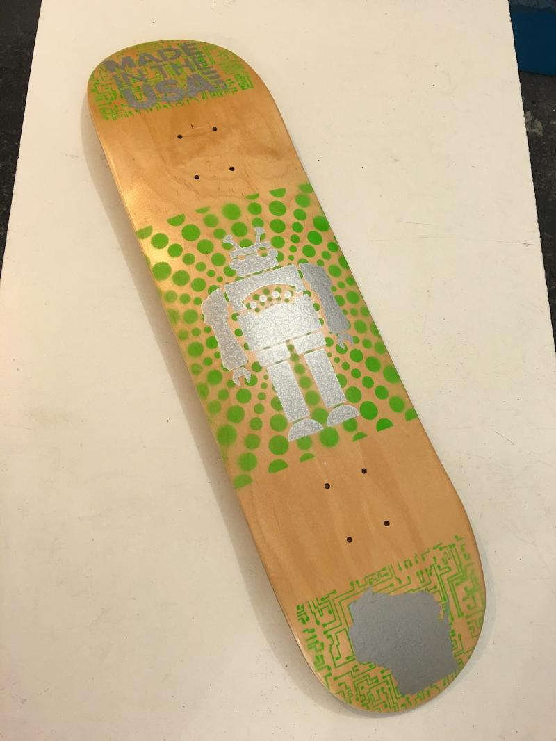 Bigfoot skateboards (green robot) at Bigfoot Bike and Skate, Milwaukee, WI.