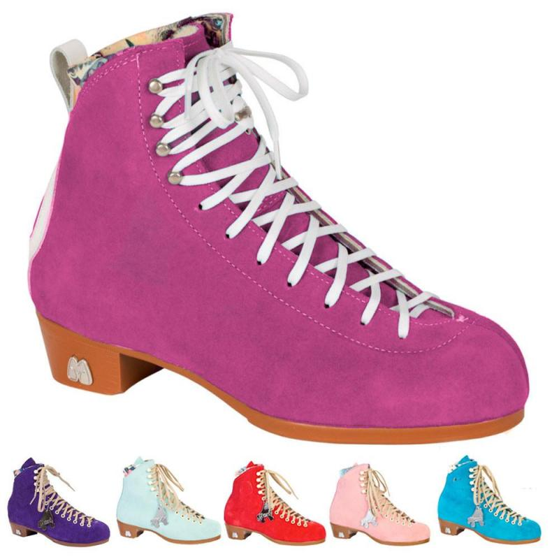 Moxi Lolly roller skate boots with slider blocks at Bigfoot Bike & Skate.