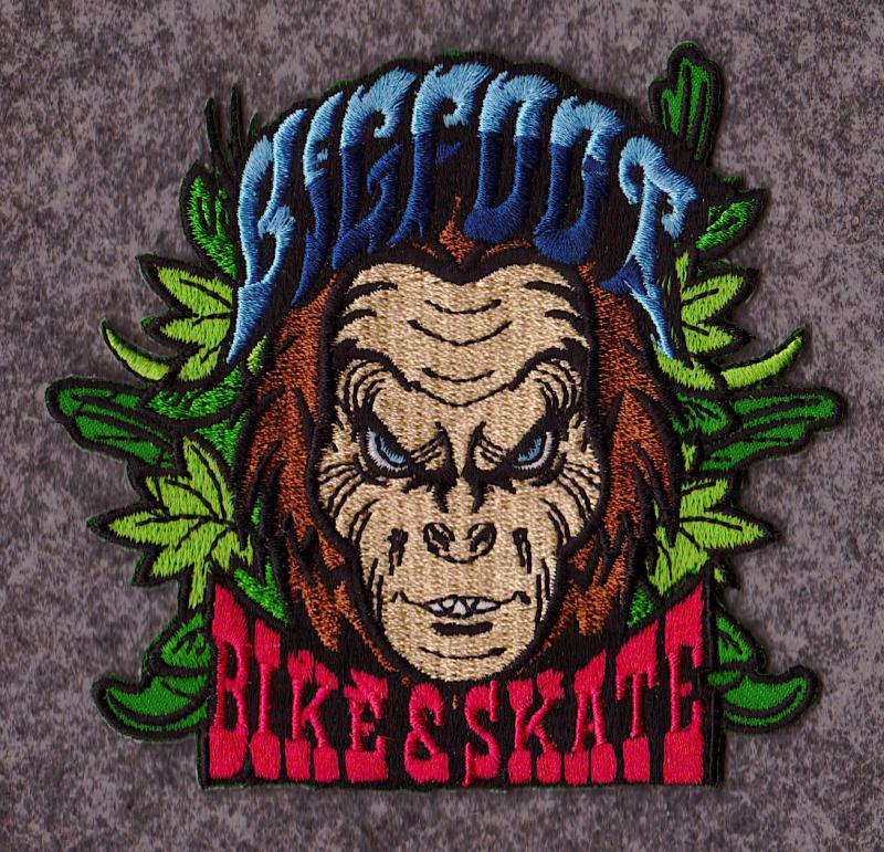 Bigfoot iron on patch at Bigfoot Bike & Skate, Milwaukee, WI 53207.