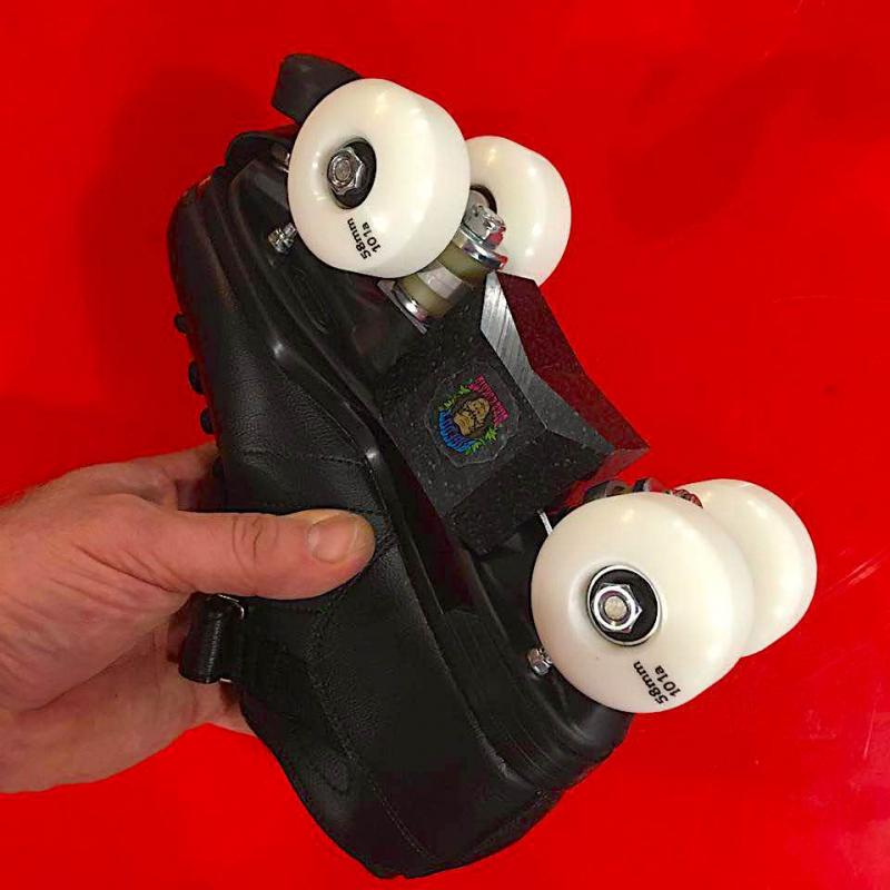 Riedell R3 skatepark roller skates with bigfoot blox and bigfoot park wheels.