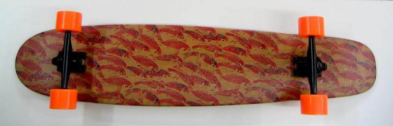 """ Red Koi"" Bamboo skateboard at Bigfoot Bike & Skate, Milwaukee, WI 53207."