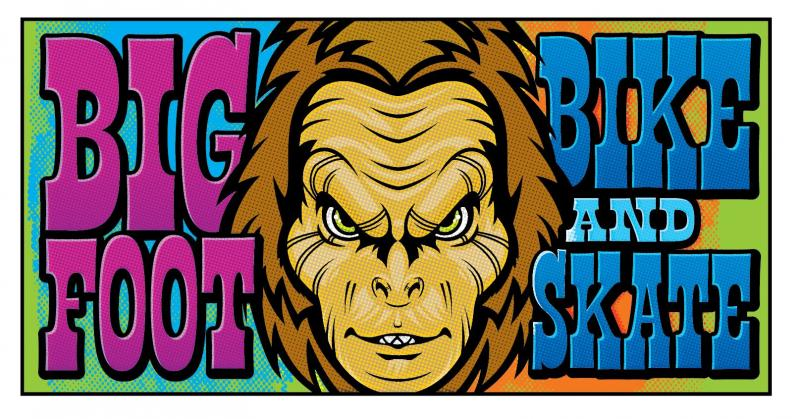 Bigfoot Bike & Skate rectangular sticker at Bigfoot Bike & Skate, Milwaukee, WI.