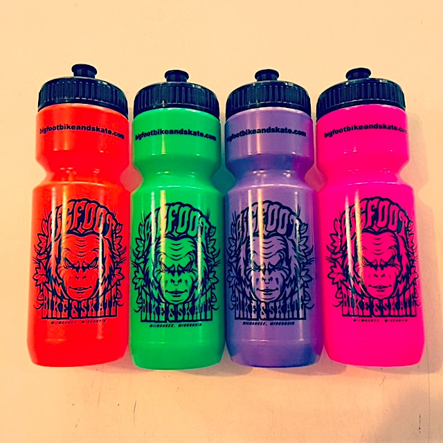 Bigfoot water bottles (25oz) at Bigfoot Bike and Skate, Milwaukee, WI 53207.